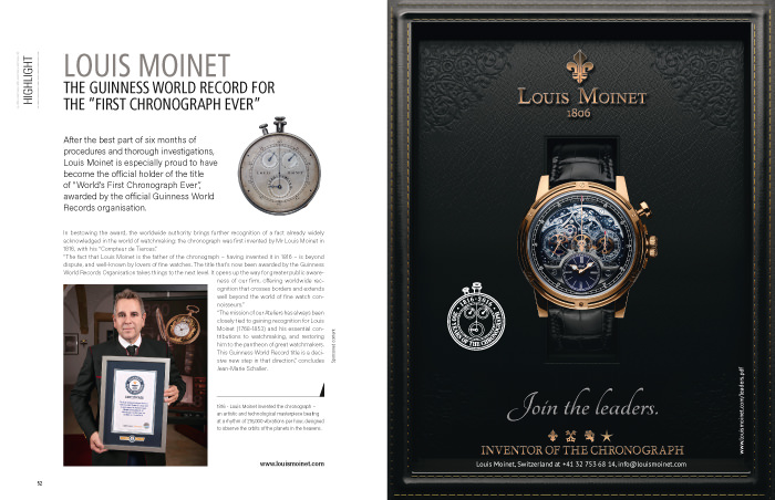 "LOUIS MOINET ""First Chronograph Ever"" 计时码表的吉尼斯世界纪录保持者"